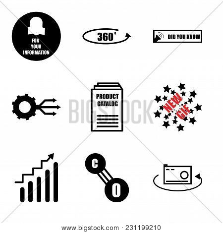 Set Of 9 simple editable icons such as 360 photo, carbon monoxide, continuous improvement, new gif, product catalogue, multi channel, did you know, 360 photo, fyi, can be used for mobile, web UI stock photo