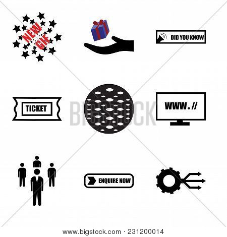 Set Of 9 simple editable icons such as multi channel, enquire now, Staff, website, anti slip, support ticket, did you know, perks, new gif, can be used for mobile, web UI stock photo