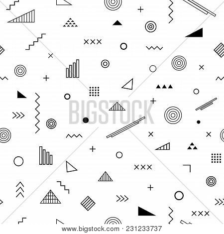 Seamless pattern with memphis style. Abstract geometric background with different geometrical shapes triangles, circles, arrows. Vector trendy design. Wallpaper, cloth design, fabric, paper, textile. stock photo