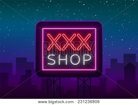 Sex Pattern Logo, Sexy xxx concept for adults in neon style. Neon sign, design element, storage, prints, facades, window signs, digital projects. Intimate store. Bright night sign advertising. Vector. stock photo