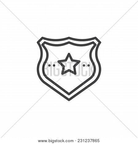 Police badge outline icon. linear style sign for mobile concept and web design. Sheriff badge with star simple line vector icon. Symbol, logo illustration. Pixel perfect vector graphics stock photo