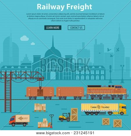 Railway Freight Delivery and Logistics with flat Icons train, delivery, station, truck, rails and forklift. Vector illustration stock photo