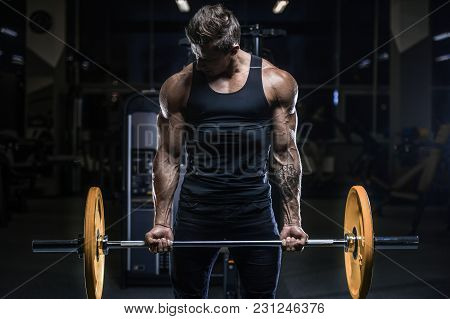 Handsome Model Young Man Workout In Gym