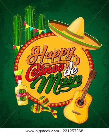 Happy Cinco De Mayo Festive Banner With Latin American Fiesta Party