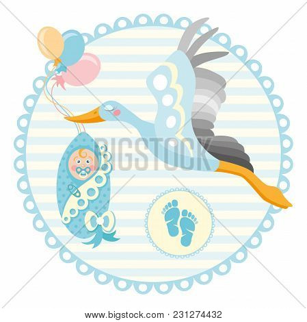 Baby shower frame. Stork carrying a cute baby in a bag. It s a boy Baby boy announcement card template. Place for your text. stock photo