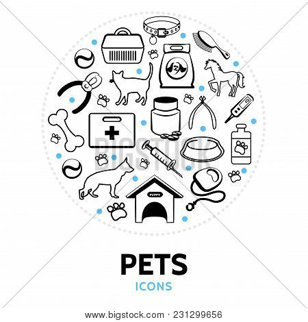Pets line icons round concept with cat dog horse doghouse carrier collar comb syringe bone feed bowl lead medical kit isolated vector illustration stock photo