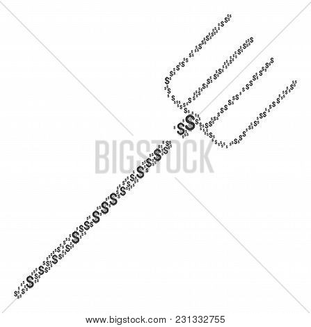 Pitchfork mosaic of american dollars. Vector dollar symbols are united into pitchfork illustration. stock photo