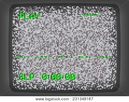 Vector VHS gray intro screen of a videotape player with noise flickering. Retro 80 s style vintage green pixel art background. stock photo
