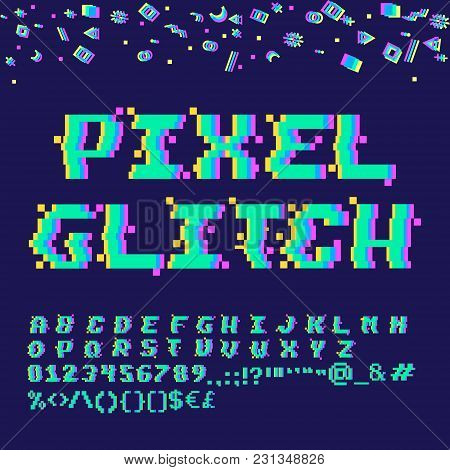 Vector 8-bit pixel art English alphabet with glitch VHS effect. Letters, numbers and symbols stock photo