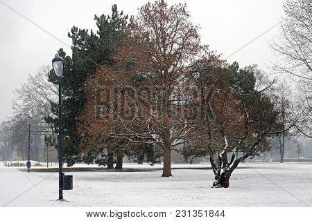 Winter view of Letna park in Prague, Czech Republic stock photo