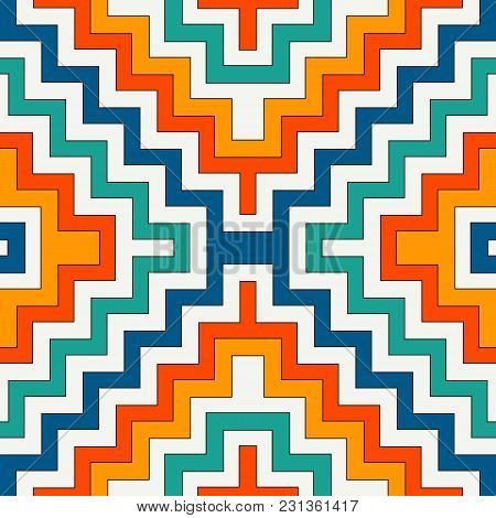 Ethnic style seamless pattern with chevron lines. Native americans ornamental background. Tribal motif. Colorful mosaic wallpaper. Boho chic digital paper, textile print, page fill. Vector art stock photo