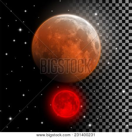 Realistic blood moon vector illustration. Red and orange full moon in lunar eclipse phase isolated on night sky and transparent background. Vampire moon Halloween decoration element. stock photo
