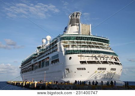 Big white ship in a Mexican port stock photo