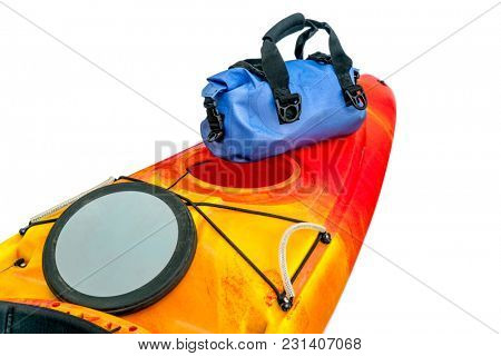 open hatch and waterproof duffel on a stern deck of a river kayak stock photo