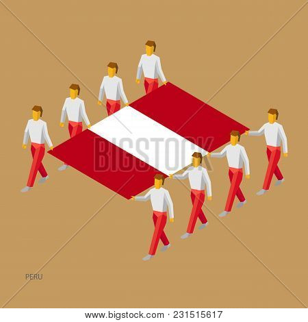 Eight people hold big flag of Peru. 3D isometric standard bearers. Peruvian sport team. Simple vector illustration for infographic. stock photo