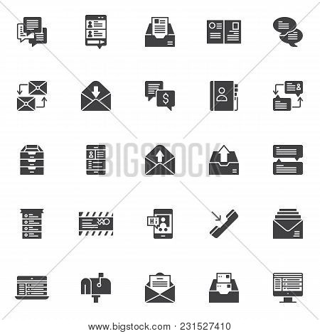 Dialogue messages vector icons set, modern solid symbol collection, filled style pictogram pack. Signs, logo illustration. Set includes icons as speech bubble, smartphone with messaging sms app, mail stock photo