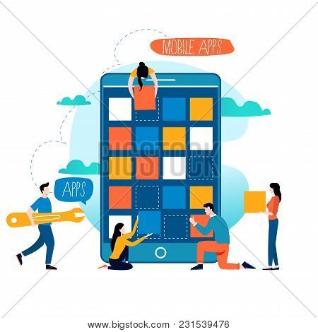 Mobile application development process flat vector illustration. Software API prototyping and testing background. Smartphone interface building process, mobile app building concept. Design studio stock photo