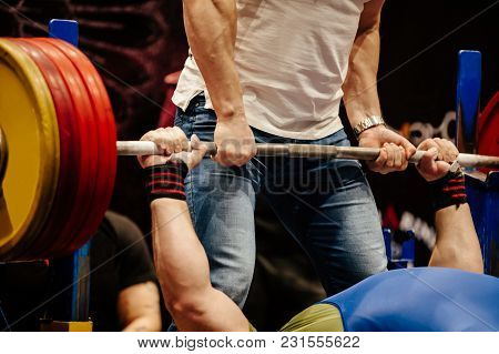 powerlifter exercise bench press record weight barbell stock photo