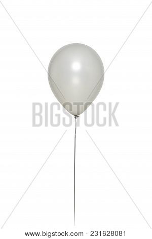 Silver Balloon Floating on white background. minimal concept idea stock photo