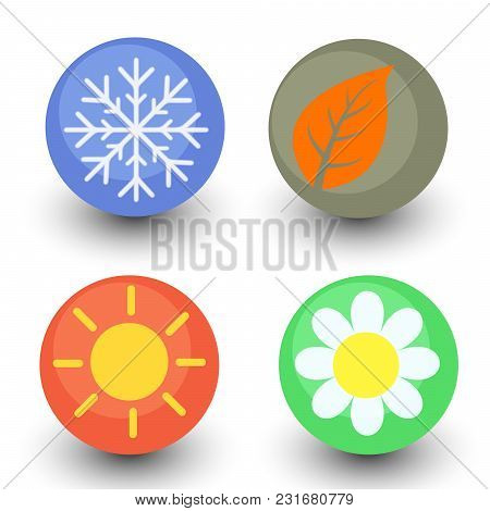 four season vector icon set, seasonal button with glassy lustre and shadow - spring flower, autumn leaf, summer sun and winter snowflake stock photo
