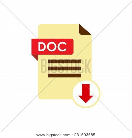 Download DOC icon. File with DOC label and down arrow sign. stock photo