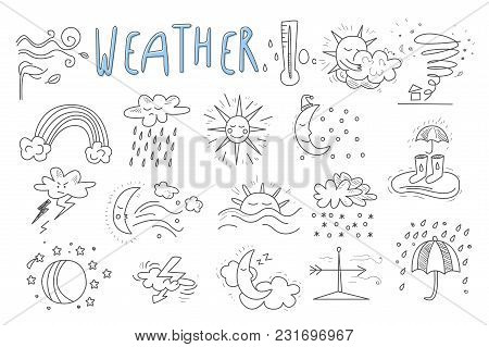Set of hand drawn icons for mobile weather forecast application. Wind, snow, rainbow, rain, thunderstorm, downpour, hurricane, sun, crescent, clouds Meteorologic theme Cartoon vector illustration stock photo