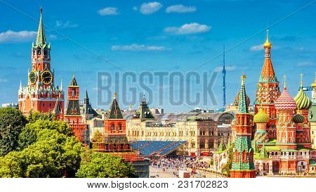 Panoramic View Of The Red Square In Moscow, Russia