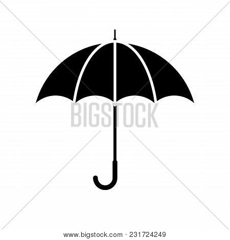 Umbrella icon. Black, minimalist icon isolated on white background. Umbrella simple silhouette. Web site page and mobile app design vector element. stock photo