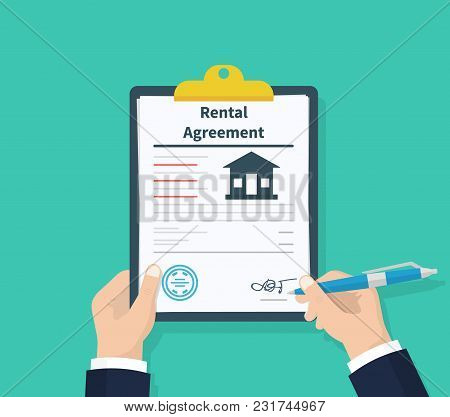 Man hold Rental agreement form contract. Clipboard in hand. Signing document. Flat design, vector illustration on background stock photo