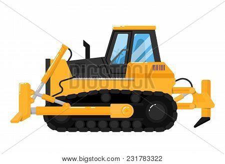 Yellow crawler bulldozer isolated on white background illustration. Construction digger machine in flat design. Modern dozer. Building equipment. Commercial vehicle. stock photo