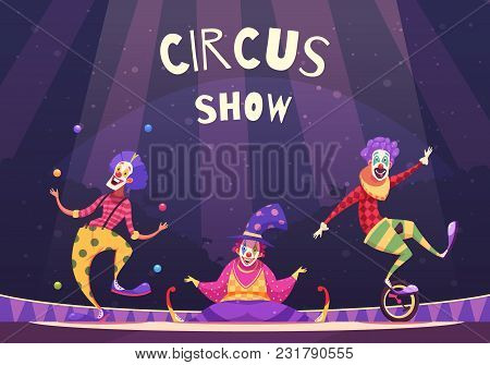 Circus show with clowns on arena including juggler, comedian, performer on unicycle, on purple background vector illustration stock photo
