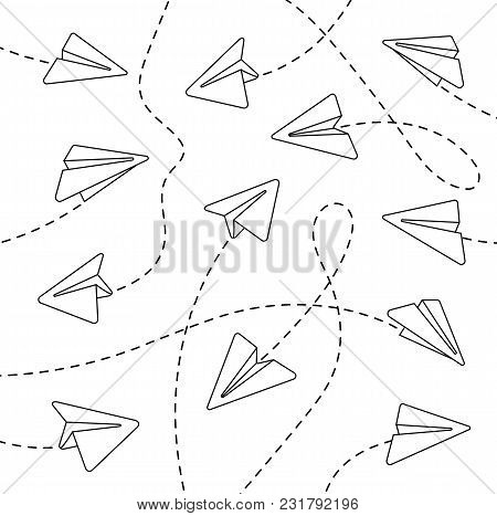 Paper airplanes. Paper airplanes with dashed lines. Paper airplanes with dashed lines on a white background. Paper airplanes with dashed lines in a linear style. Vector illustration Eps10 file stock photo