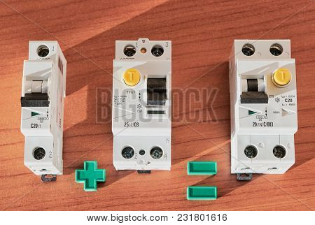 Circuit breaker, RCD, differential current circuit breaker. Differential circuit breaker can be used instead of the circuit breaker and the safety disconnect device. Space saving. Compactness. stock photo
