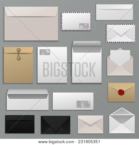 Envelope vector blank of letter on paper mailing to postal mailers address and postcard template illustration set of business mockup correspondence isolated on background. stock photo