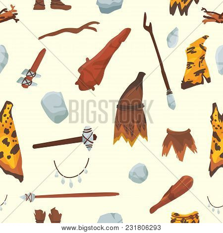 Primitive people stoneage aboriginal primeval historic hunting stoneage caveman people weapon and house life symbols illustration seamless pattern background. stock photo