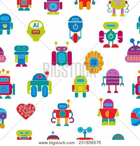 Vector robot technology design futuristic kid flat baby children cyborg robotic character machine science future illustration isolated on white background. stock photo