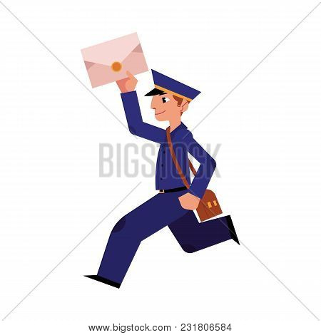 Cartoon postman cheerful character running holding letter or mail and shouder bag. Man in professional blue uniform peaked cap. Delivery service worker, mailman. Vector illustration stock photo