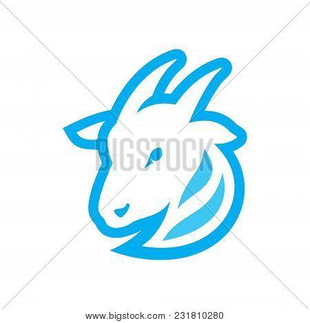 Nanny-goat head symbol isolated on white background stock photo