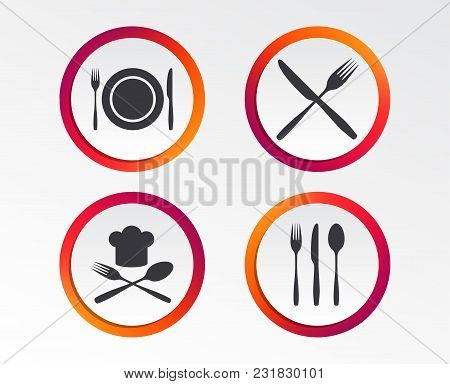 Plate dish with forks and knifes icons. Chief hat sign. Crosswise cutlery symbol. Dining etiquette. Infographic design buttons. Circle templates. Vector stock photo