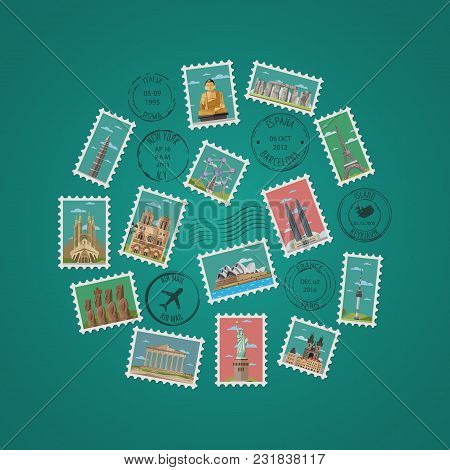 Postage Stamps And Postmarks With Famous Architectural Compositions Vector Illustration. Worldwide A