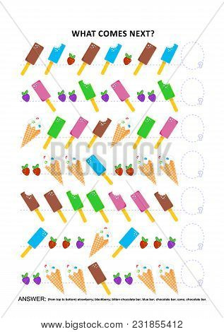 Ice-cream themed educational logic game training sequential pattern recognition: What comes next in the sequence? Answer included. stock photo