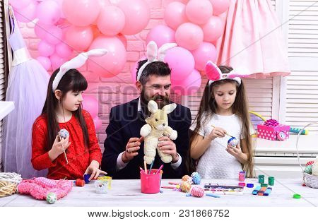 Happy Family Celebrate Spring Holiday, Love. Happy Easter Family Paint Eggs. Family Values, Childhoo