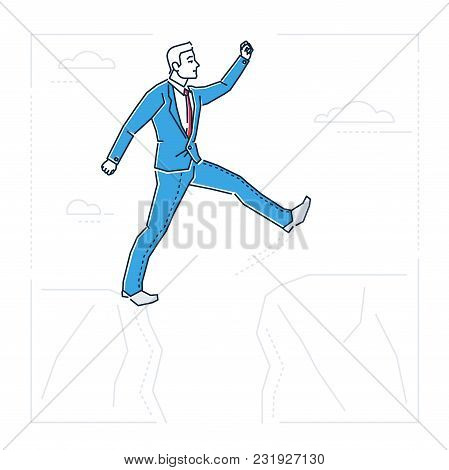 Determined businessman - line design style isolated illustration on white background. Metaphorical image of a happy man stepping over the gap between two rocks, overcoming difficulties stock photo