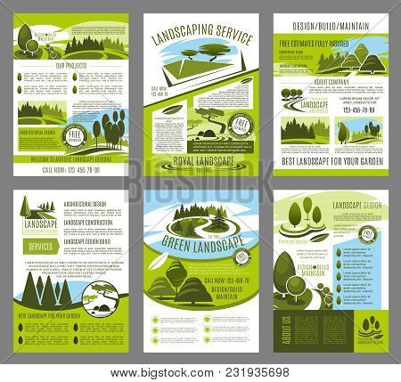 Landscape design and green garden build brochure template for landscaping company or horticulture service. Vector design of park trees or garden nature for city forest eco architects stock photo
