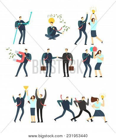 Women and men business people acting in various situation. Vector cartoon employees. Man and woman character in business situation collection stock photo