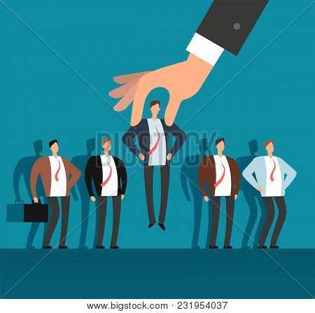 Employer hand choosing man from selected group of people. Recruitment vector business concept. Human recruitment, select and choice illustration stock photo