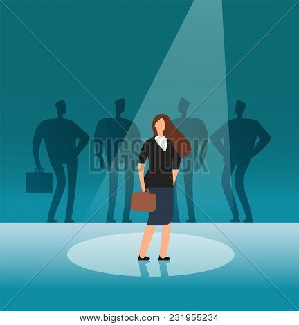 Talented businesswoman standing in searchlight. Recruitment, hiring, career and job opportunities vector concept. Illustration of candidate talented in searchlight, leadership in spotlight stock photo