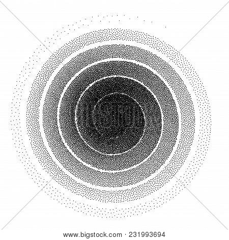 Abstract spiral background. Black and white halftone stipple dots pattern. Eps8. RGB. Global color stock photo