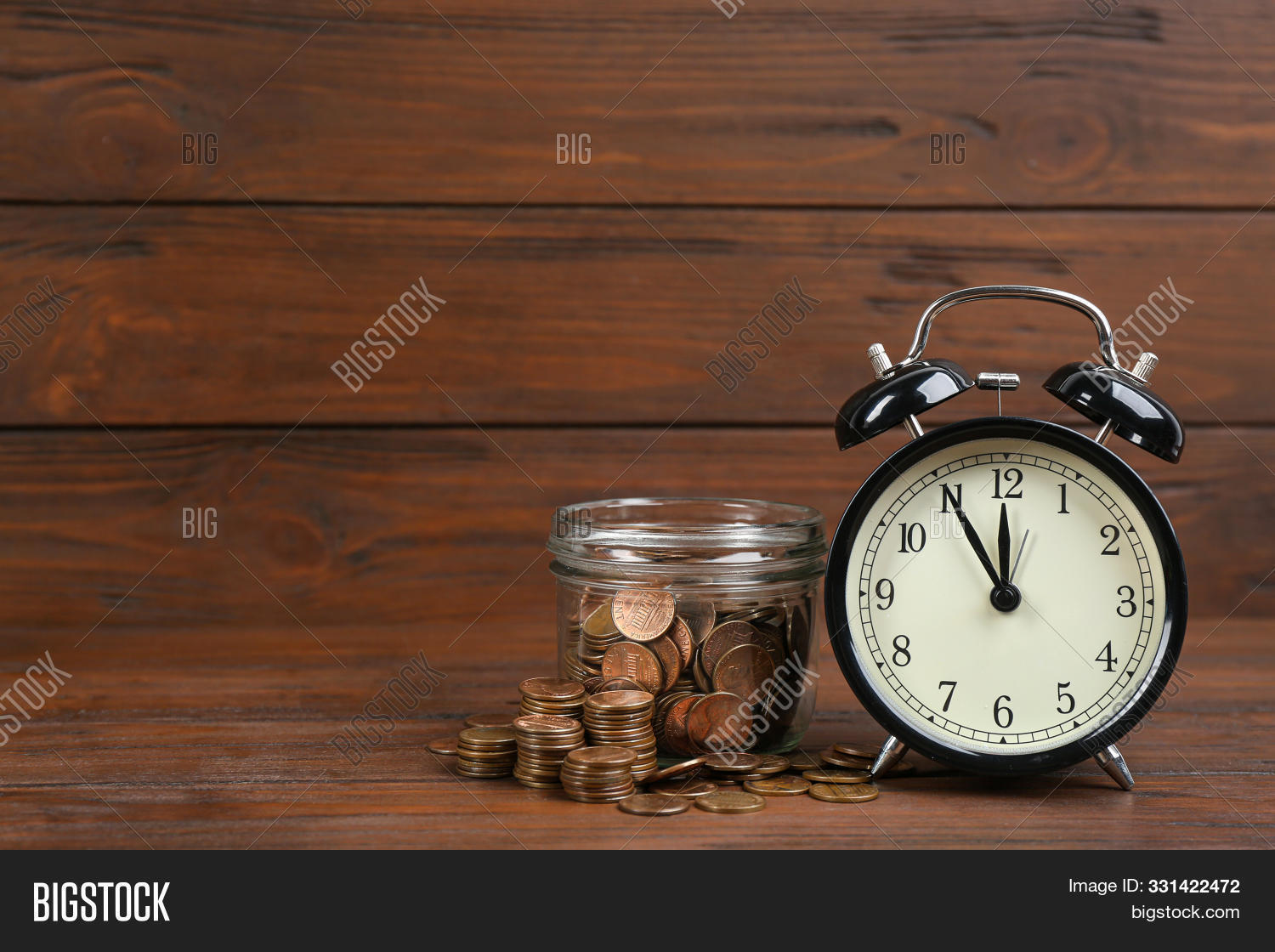 Black Alarm Clock, Glass Jar And Coins On Table Against Wooden Background, Space For Text. Money Sav