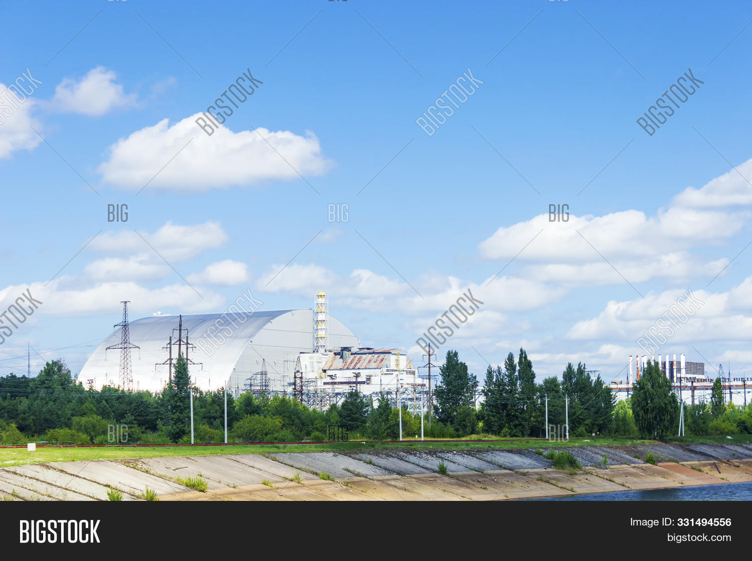 Chernobyl sarcophagus over the 4th reactor, Ukraine. Chernobyl nuclear power plant.